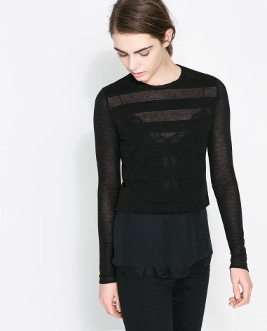 Sweater With Sheer Stripe- Zara ($49)